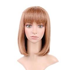 tanie Peruki syntetyczne-Peruki syntetyczne Prosto Krótki Bob Fryzura Bob Naturalna linia włosów Jasnobrązowy Damskie Bez czepka Halloween Wig Celebrity Wig