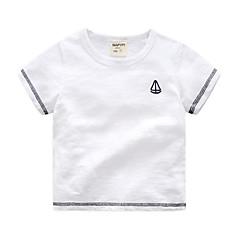 tanie Odzież dla chłopców-Brzdąc Dla chłopców Podstawowy Święto Solidne kolory / Prążki Krótki rękaw Bawełna T-shirt