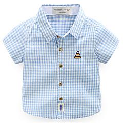 billige Overdele til drenge-Drenge Daglig Ferie Ternet Skjorte, Bomuld Polyester Sommer Kortærmet Aktiv Grøn Orange Navyblå Lyseblå
