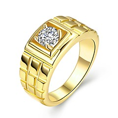 cheap Rings-Men's Band Ring - Zircon, Gold Plated Rock 9 / 10 Gold For Daily / Work
