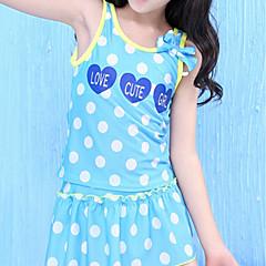 billige Badetøj til piger-Pige Sødt Prikker Badetøj, Polyester Uden ærmer Blå