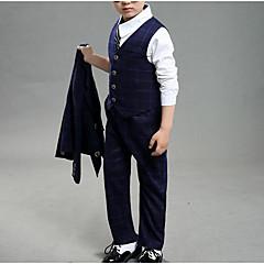 baratos Roupas de Meninos-Para Meninos Conjunto Diário Escola Sólido Estampado Xadrez Primavera Outono Algodão Poliéster Manga Comprida Casual Moda de Rua Azul