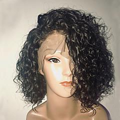 billiga Peruker och hårförlängning-Remy-hår Spetsfront Peruk Brasilianskt hår Lockigt Bob-frisyr 130% Densitet Med Babyhår / Naturlig hårlinje / Afro-amerikansk peruk Dam Korta Äkta peruker med hätta
