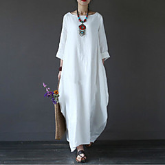 Women's Plus Size Holiday / Weekend Maxi Loose Swing Dress - Solid Colored White Spring Cotton Black Red Light Blue XXXL XXXXL XXXXXL