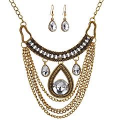 tanie Zestawy biżuterii-Damskie Rhinestone Biżuteria Ustaw 1 Naszyjnik Náušnice - Vintage Duże Kropla Gold Zestawy biżuterii Kolczyki wiszące Naszyjniki z