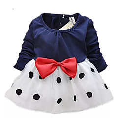 cheap Kids Collection Under $8.99-Toddler Girls' Dot / Bow Going out Black & White Polka Dot / Patchwork Long Sleeve Long Dress