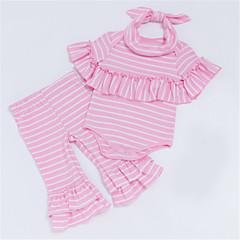 billige Sett med babyklær-Baby Pige Stribet Kortærmet Tøjsæt