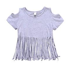 billige Pigetoppe-Baby Pige Aktiv Daglig Ensfarvet Kvast Kortærmet Normal Bomuld / Polyester T-shirt Grå / Sødt