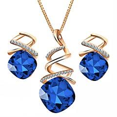 baratos Conjuntos de Bijuteria-Mulheres Cristal Geométrica Conjunto de jóias - Cristal Austríaco Simples Incluir Roxo / Vermelho / Azul Para Festa Diário / Brincos