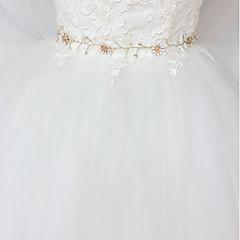 Χαμηλού Κόστους Κορδέλες για πάρτι-Σατέν / Τούλι Γάμου / Ειδική Περίσταση Ζώνη Με Κρυσταλλάκια / Απομίμηση Πέρλας Γυναικεία Ζώνες για Φορέματα