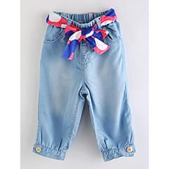 baratos Roupas de Meninas-Sólido Menina de Primavera Verão Vestido Básico Azul