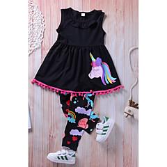 billige Tøjsæt til piger-Pige Daglig I-byen-tøj Ensfarvet Regnbue Tøjsæt, Nylon Forår Efterår Uden ærmer Sødt Aktiv Sort