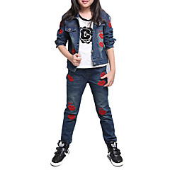 baratos Roupas de Meninas-Para Meninas Jeans Diário Esportes Escola Bordado Primavera Outono Algodão Manga Longa Desenho Azul