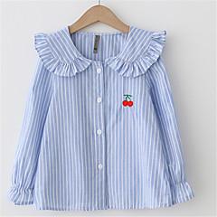 billige Pigetoppe-Baby Pige Ensfarvet Polyester T-shirt Blå