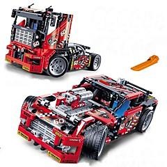 baratos -Race Truck Car 2 In 1 Transformable Model Blocos de Construir 608pcs Veículos Requintado Caminhão / Carro de Corrida Para Meninos Dom