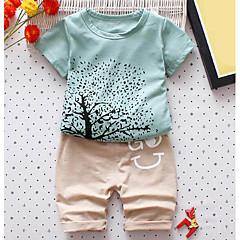 billige Tøjsæt til drenge-Baby Drenge Daglig Trykt mønster Patchwork / Trykt mønster Kortærmet Normal Normal Polyester Tøjsæt Blå / Sødt