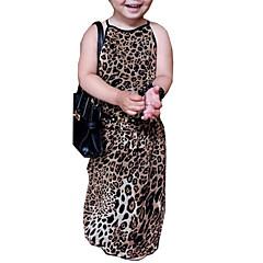 baratos Roupas de Meninas-Menina de Vestido Diário Para Noite Leopardo Verão Algodão Sem Manga Simples Moda de Rua Bege