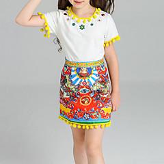 billige Tøjsæt til piger-Børn Pige Tribal Trykt mønster Kort Bomuld Tøjsæt / Fest