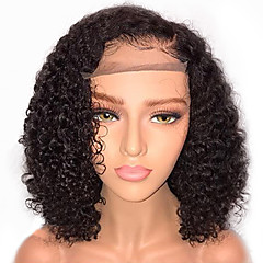 cheap Wigs & Hair Pieces-Remy Human Hair Unprocessed Human Hair Lace Front Wig Brazilian Hair Curly Wig Bob 130% Density with Baby Hair Natural Hairline African American Wig Unprocessed Bleached Knots Women's Short Medium