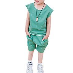billige Tøjsæt til drenge-Drenge Daglig Trykt mønster Tøjsæt, Bomuld Forår Sommer Kortærmet Sødt Blå Grøn Gul