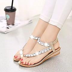 Dam Skor PU Sommar Komfort Sandaler Platt klack Guld   Silver cb2bf8f72e574