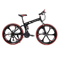 cheap Bikes-Mountain Bike / Folding Bike Cycling 21 Speed 26 Inch / 700CC SHIMANO TX30 Double Disc Brake Springer Fork Rear Suspension Ordinary / Standard Steel / #