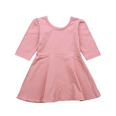 baratos Roupas de Meninas-Menina de Vestido Diário Feriado Sólido Primavera Verão Algodão Manga Longa Vintage Básico Preto Rosa