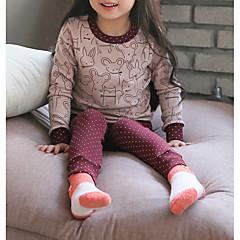 Χαμηλού Κόστους Εσώρουχα και κάλτσες για κορίτσια-Κοριτσίστικα Ρουχισμός Ύπνου Βαμβάκι Ριγέ Μακρυμάνικο Απλός Ανθισμένο Ροζ