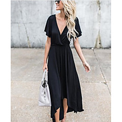 Women's Going out / Holiday Sophisticated Swing Dress - Solid Colored Black Maxi Deep V