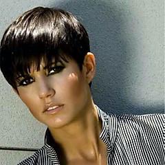 billiga Peruker och hårförlängning-Human Hair Capless Parykar Äkta hår Vågigt Pixie-frisyr Naturlig hårlinje Natur Svart Maskingjord Peruk Dam