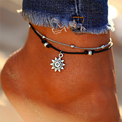 tanie Piercing-Warstwy materiały Łańcuszek na kostkę - Słońce Vintage, Artystyczny, Tropikalny Srebrny Na Prezent Bikini Damskie