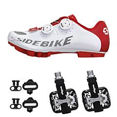 billige Sykkelsko-SIDEBIKE Voksne Sykkelsko med pedal og tåjern / Mountain Bike-sko Nylon Demping Sykling Rød og Hvit Herre / Syntetisk Mikrofiber PU