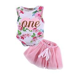 billige Sett med babyklær-Baby Pige Aktiv Trykt mønster Uden ærmer Lang Bomuld Tøjsæt