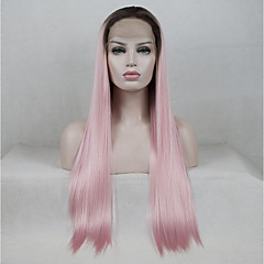 cheap Wigs & Hair Pieces-Synthetic Lace Front Wig / Ombre Women's Straight Black Middle Part 130% Density Synthetic Hair Color Gradient / Medium Size / Middle Part Black / Pink Wig Long Lace Front Black / Pink