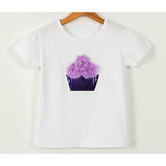 billige Pigetoppe-Baby Pige Aktiv Trykt mønster Kortærmet Polyester T-shirt Rød 100