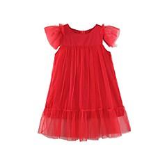 billige Pigekjoler-Børn / Baby Pige Ensfarvet Kortærmet Kjole