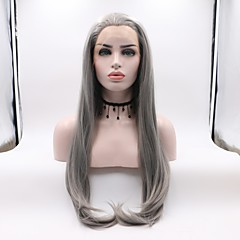 cheap Wigs & Hair Pieces-Synthetic Lace Front Wig Women's Straight Dark Gray Layered Haircut Synthetic Hair Curler & straightener Dark Gray Wig Mid Length Lace Front Grey Skyworth / Yes