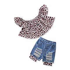 billige Tøjsæt til piger-Børn Baby Pige Leopard Kortærmet Tøjsæt