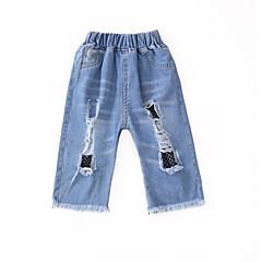 billige Bukser og leggings til piger-Børn Pige Basale Patchwork Net / Ribbet / Patchwork Bomuld Jeans