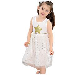 baratos Roupas de Meninas-Infantil Bébé Para Meninas Preto & Branco Estampado Sem Manga Vestido