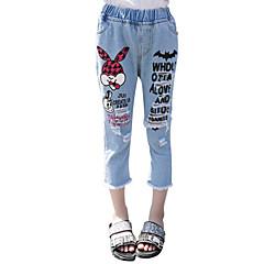 billige Jeans til piger-Børn Pige Aktiv I-byen-tøj Trykt mønster Hul / Trykt mønster Bomuld Jeans