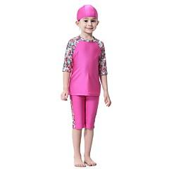 billige Badetøj til drenge-Børn Pige Aktiv Sport / Strand Blomstret / Patchwork Halvlange ærmer Nylon / Spandex Badetøj Sort / Sødt