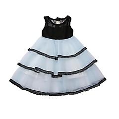 baratos Roupas de Meninas-Infantil Para Meninas Preto & Branco Estampa Colorida Sem Manga Vestido