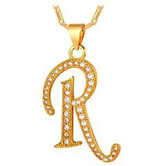 cheap Men's Jewelry-Men's Cubic Zirconia Pendant Necklace - Alphabet Shape, Letter Fashion Gold, Silver 55 cm Necklace For Gift, Daily