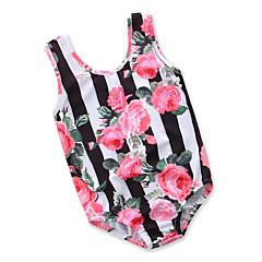 billige Badetøj til piger-Børn Baby Pige Sort og hvid Blomstret Trykt mønster Uden ærmer Badetøj