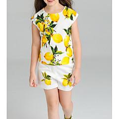billige Tøjsæt til piger-Børn Pige Citron Frugt Kortærmet Tøjsæt