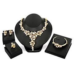 billige Smykke Sett-Dame Rhinstein Perle Oversized Smykkesett 1 Halskjede / 1 Armbånd / 1 Ring - Mote / Oversized Uregelmessig Gull Smykke Sett Til Fest /