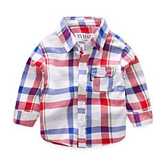baratos Roupas de Meninos-Infantil / Bébé Para Meninos Xadrez Manga Longa Camisa