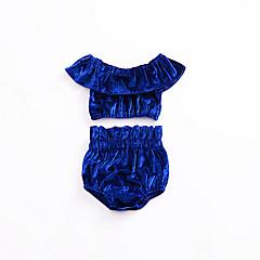billige Sett med babyklær-Baby Pige Ensfarvet Uden ærmer Kort Tøjsæt / Sødt