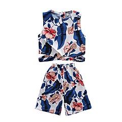 billige Tøjsæt til piger-Børn Pige Aktiv Strand Tropisk blad Trykt mønster Trykt mønster Uden ærmer Kort Tøjsæt